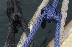 Cleat with colored ropes Royalty Free Stock Images