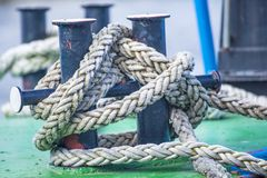 Cleat with mooring line Royalty Free Stock Images