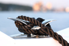 Cleat and rope, yacht detail Royalty Free Stock Photos