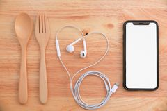 Cleative flat lay of empty screen smartphone stock photo