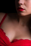 Cleavage in red Stock Photo