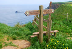 Cleaveland Way signpost. Signpost marking Cleveland Way footpath outside of Whitby royalty free stock photography
