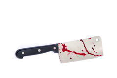 Cleaver. Kitchen knife - with blood isolated on white stock photography