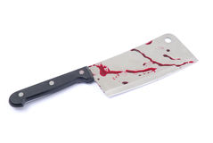 Cleaver. Kitchen knife - with blood isolated on white stock images