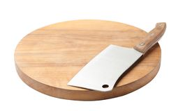 Cleaver knife and wooden board isolated. On white stock image