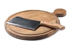 Cleaver knife and wooden board on white. Cleaver knife and wooden board isolated on white stock photos