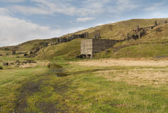 Clee Hill disused stone quarry buildings. Concrete ruins. Royalty Free Stock Image