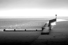 Cleethorpes beach black and white promenade Royalty Free Stock Photos