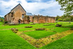 Cleeve Abbey ruins in Somerset, England, UK. Washford, Somerset, England: Ruins of Cleeve Abbey founded in the late twelfth century as a house for monks of the stock images