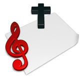 Clef and cross on blank white paper sheet Stock Images