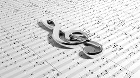 Clef de G en notas de la música imágenes de archivo libres de regalías