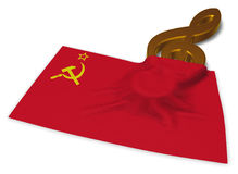 Clef and flag of the soviet union. 3d rendering Royalty Free Stock Image