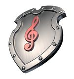 Clef on metal shield Stock Photos