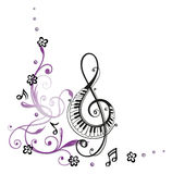 Clef, music. Clef with flowers and music notes Royalty Free Stock Images
