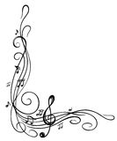 Clef, music sheet. Clef with music sheet and music notes, border