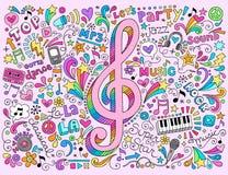 Clef muzyki notatek Groovy notatnik Doodles wektor Obrazy Stock