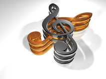 Clef - Sheet - 3D Royalty Free Stock Photos