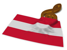 Clef symbol and austrian flag. 3d rendering Royalty Free Stock Photography