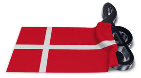 Clef symbol and danish flag Stock Image