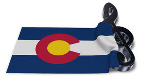 Clef symbol and flag of colorado Stock Image