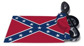 Clef symbol and flag of the Confederate States of America Stock Photo