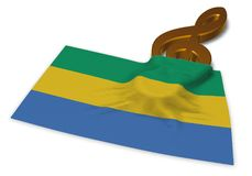 Clef symbol and flag of gabon Royalty Free Stock Photography