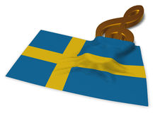 Clef symbol and flag of sweden Royalty Free Stock Images
