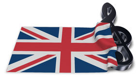 Clef symbol and flag of the united kingdom Stock Photo