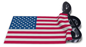 Clef symbol and flag of the usa Stock Image