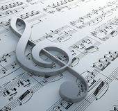 Clef symbol on a notation chart Royalty Free Stock Image