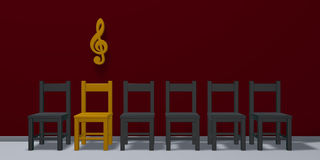Clef symbol over row of chairs Royalty Free Stock Photo