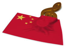 Clef symbol symbol and flag of china Stock Images
