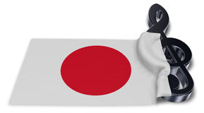 Clef symbol symbol and flag of japan Royalty Free Stock Images