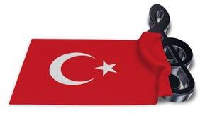 Clef symbol symbol and flag of turkey Royalty Free Stock Photos