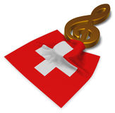 Clef symbol symbol and swiss flag Royalty Free Stock Images