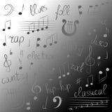 Clef triple de griffonnage, Bass Clef, notes et lyre Lettrage des bleus, électronique, jazz, coup sec et dur, disco, gens, pays,  Photographie stock libre de droits