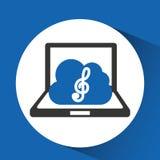 Clef triple de nuage de musique de technologie Photos stock