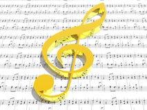 Clef triple sur la feuille de musique estampée Photos libres de droits