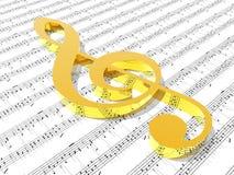 Clef triple sur la feuille de musique estampée Photo libre de droits
