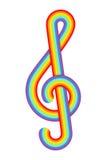Clef triplo del Rainbow Immagini Stock Libere da Diritti