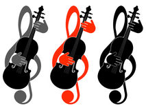 Clef triple et violon Photo libre de droits