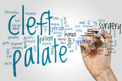 Cleft palate word cloud concept on grey background.  royalty free stock photo