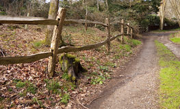 Cleft post and rail fence. Traditional timber split-rail fence made without nails from logs and branches stock photos