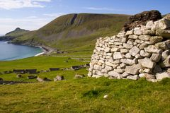 Cleits at St Kilda, Outer Hebrides, Scotland. Ancient wall structures and shelters i.e.; ` cleits` at the remote archipelago of St Kilda, Outer Hebrides royalty free stock photos