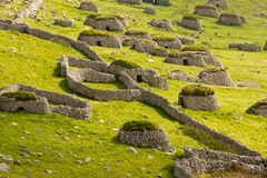Cleits at St Kilda, Outer Hebrides, Scotland. Ancient wall structures and shelters i.e.; ` cleits` at the remote archipelago of St Kilda, Outer Hebrides royalty free stock photography