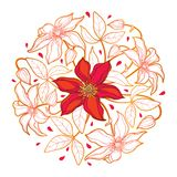 Vector round bouquet with outline red and gold Clematis or Traveller`s joy ornate flower bunch, bud and leaves isolated on white. Vector round bouquet with stock illustration