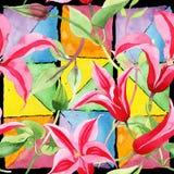 Clematite vermelha Flor botânica floral Teste padrão selvagem do wildflower da folha da mola ilustração royalty free