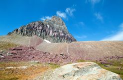 Clement Mountain as seen from Hidden Lake trail on Logan Pass in Glacier National Park during the 2017 fall fires in Montana USA. Clement Mountain as seen from Royalty Free Stock Images