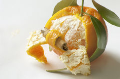 Clementine with cinnamon stick. An interesting perspective combining citrus with cinnamon Stock Photography