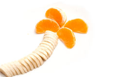 Clementine concept and palm-shaped banana Stock Images